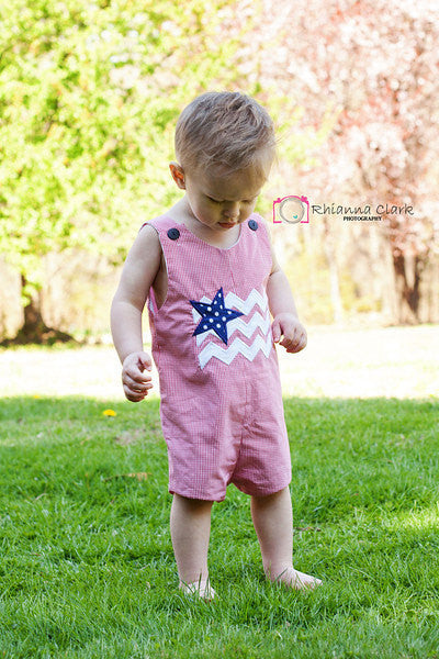 Boys Patriotic Flag Jon,Boys July 4th Flag Jon,Boys Appliqué Red Gingham July 4th Jon