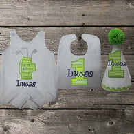 Boys Golf Birthday Jon,Lime Green,Boys First Birthday Set,First Birthday Golf Bag Jon Hat Bib
