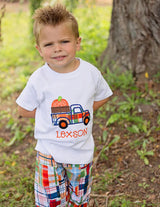 Boys Fall Pumpkin Truck with Optional Plaid Pants,Appliqué Embroidered