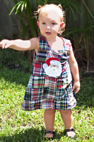 Girls Christmas Santa Dress,Santa Girls Dress,Girls Christmas Dress,Madras Plaid Christmas Dress,Appliqué Embroidered Dress Aline Dress