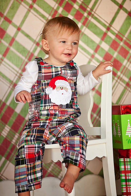 Christmas Santa Jon,Boys Christmas Jon,Madras Plaid Santa Jon,Appliqué Embroidered Longall Jon