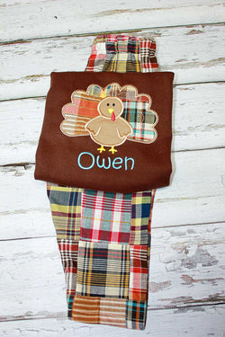 Boys Turkey Shirt with Optional Madras Plaid Pants,Fall Turkey Shirt,Appliqué Embroidered
