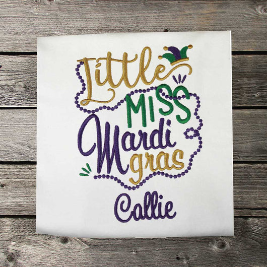 Girls Mardi Gras Shirt,Mardi Gras Little Miss,Girls T shirt or Bodysuit, Embroidered Shirt or Bodysuit
