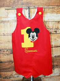 Boys Birthday Mickey Jon,Boys Birthday Jon,First Birthday Jon,Applique Embroidered Jon
