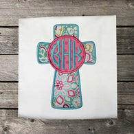 Girls Easter Shirt,Easter Monogram Cross Shirt,Easter Cross Shirt,Appliqué Embroidered Shirt Bodysuit