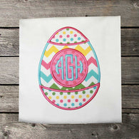 Girls Easter Shirt,Easter Monogram Egg Shirt,Easter Egg Shirt,Appliqué Embroidered Shirt Bodysuit