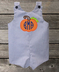 Boys Pumpkin Monogram Jon,Boys Thanksgiving Jon,Boys First Fall Clothes,Boys First Thanksgiving Outfit,Appliquéd Embroidered Jon Jon Shortall Longall