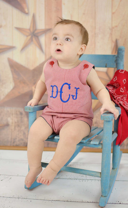 Boys Monogram Jon,Boys Personalized Jon,Boys Red Gingham Jon,Baby Boy Romper, Embroidered Jon