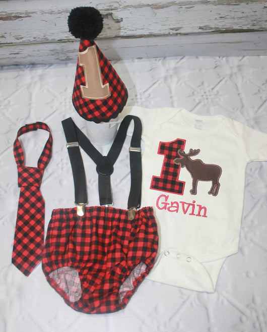 Boys Cake Smash Outfit,Moose Cake Smash Outfit Smash,Camping Cake Smash,Boys First Birthday Clothes,