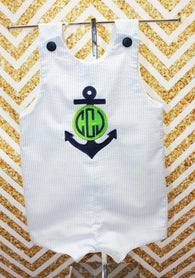 Boys Anchor Monogram Jon,Boys Beach Shortall,Boys Nautical Clothes Jon,Applique Embroidered Jon