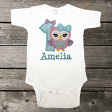 Girls Birthday Shirt,Owl Birthday Shirt,First Birthday Shirt,Appliqué Embroidered Shirt Bodysuit