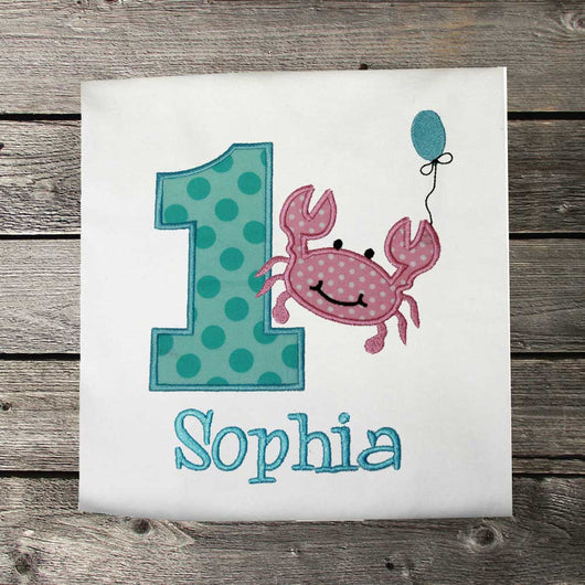 Girls Birthday Shirt,Crab Birthday Shirt,Under the Sea Birthday Shirt,Appliqué Embroidered Shirt Bodysuit