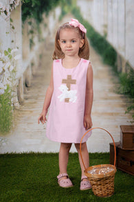 Girls Easter Dress,Pink Lamb Easter Dress,Cross Easter Dress,Appliquéd Embroidered Dress
