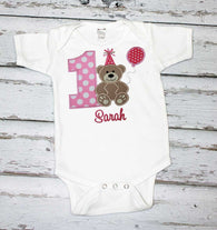 Girls Birthday Shirt,Teddy Bear Birthday Shirt,First Birthday Shirt,Appliqué Embroidered Shirt Bodysuit