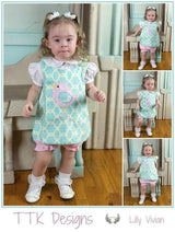 Girls Easter Bird Outfit,Turquoise Top with Bloomers,Turquoise Easter Outfit,Appliquéd Embroidered Dress
