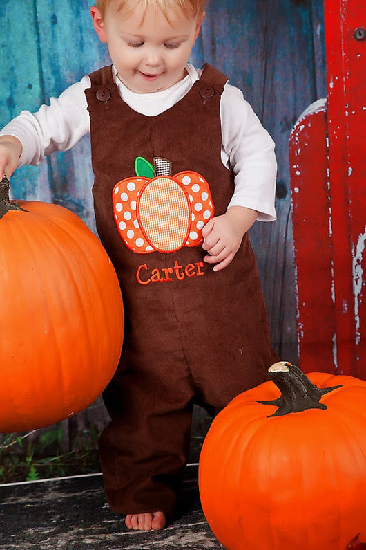 Boys Pumpkin Jon,Boys Thanksgiving Jon,Boys Polka Dot Pumpkin Jon,Boys First Thanksgiving Outfit,Appliquéd Embroidered Jon Jon Shortall Longall