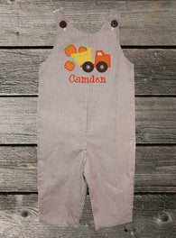 Boys Pumpkin Dump Truck Jon,Boys Thanksgiving Jon,Boys Fall Jon,Boys First Thanksgiving Outfit,Appliquéd Embroidered Jon Jon Shortall Longall