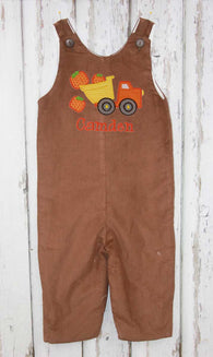 Boys Pumpkin Dump Truck Jon,Boys Thanksgiving Jon,Boys Fall Clothes,Appliqué Embroidered Jon