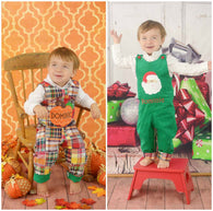 Boys Reversible Thanksgiving Christmas Jon,Boys Pumpkin Jon,Boys Santa Jon,Appliquéd Embroidered Jon Jon Shortall Longall
