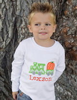 Boys Pumpkin Train Shirt,Boys Thanksgiving Shirt,Appliqué Embroidered Shirt Bodysuit