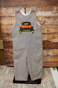 Boys Pumpkin Truck Jon,Boys Thanksgiving Jon,Boys First Fall Clothes,Boys First Thanksgiving Outfit,Appliquéd Embroidered Jon Jon Shortall Longall