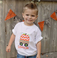 Boys Pumpkin Wagon Shirt,Boys Thanksgiving Shirt,Appliqué Embroidered Shirt Bodysuit