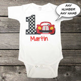 Boys Race Car Birthday Shirt,Boys Birthday Shirt,Appliqué Embroidered Shirt