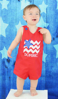 Boys Patriotic Flag Jon,Boys July 4th Flag Jon,Boys Appliqué Red July 4th Jon
