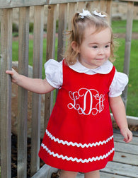 Girls Christmas Monogram Dress,Monogram Girls Dress,Girls Christmas Dress,Appliqué Embroidered Dress Aline Dress
