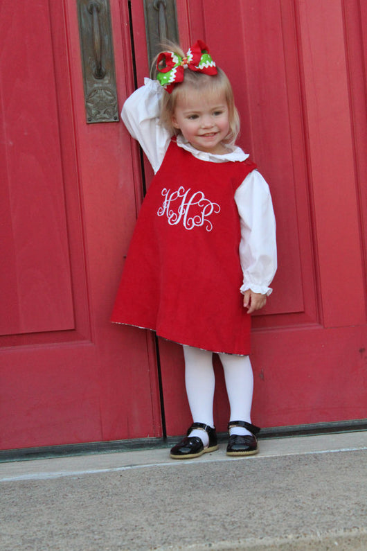 Girls Christmas Monogram Dress,Monogram Girls Dress,Girls Red Christmas Dress,Appliqué Embroidered Dress Aline Dress