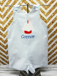 Boys Birthday Cupcake Jon,Boys Birthday Jon,First Birthday Jon,Applique Embroidered Jon