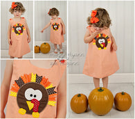 Girls Ribbon Turkey Dress,Girls Fall Dress,Girls Turkey Dress,Girls Thanksgiving Dress,Appliqué Embroidered Dress Aline Dress