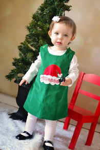 Girls Christmas Santa Hat Dress,Santa Girls Dress,Girls Christmas Dress,Green Christmas Dress,Appliqué Embroidered Dress Aline Dress