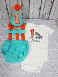 Boys Cake Smash Outfit,Shark Cake Smash Outfit,Fish Cake Smash