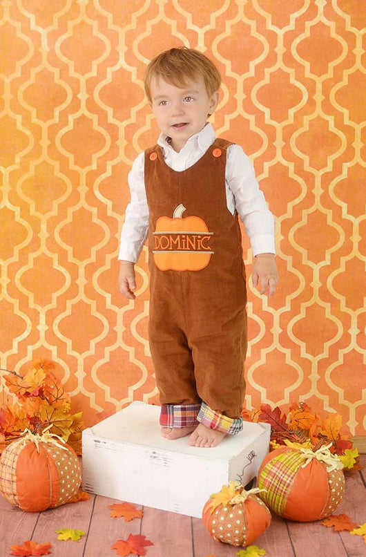 Boys Pumpkin Jon,Boys Thanksgiving Jon,Boys Split Pumpkin Longall,Boys First Thanksgiving Outfit,Appliquéd Embroidered Jon Jon Shortall Longall