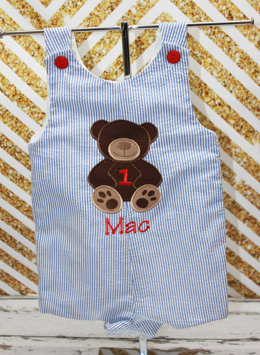 Boys Birthday Teddy BearJon, Boys Birthday Jon,First Birthday Jon,Applique Embroidered Jon