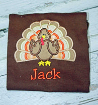 Boys Thanksgiving Shirt,Boys Turkey Shirt,Appliqué Embroidered Shirt Bodysuit