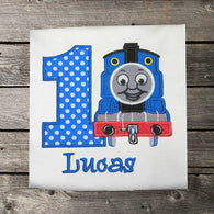Boys Thomas the Train Birthday Shirt,Boys Birthday Shirt,Applique Embroidered Shirt Bodysuit