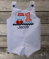 Boys Birthday Train Jon Jon,Boys Birthday Jon,First Birthday Jon,Applique Embroidered Jon