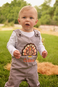 Boys Turkey Jon,Boys Thanksgiving Jon,Boys First Fall Clothes,Boys First Thanksgiving Outfit,Appliquéd Embroidered Jon Jon Shortall Longall