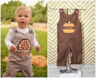 Boys Reversible Thanksgiving Jon,Boys Turkey Pumpkin Jon,Boys First Thanksgiving Clothes,Boys First Thanksgiving Outfit,Appliquéd Embroidered Jon Jon Shortall Longall