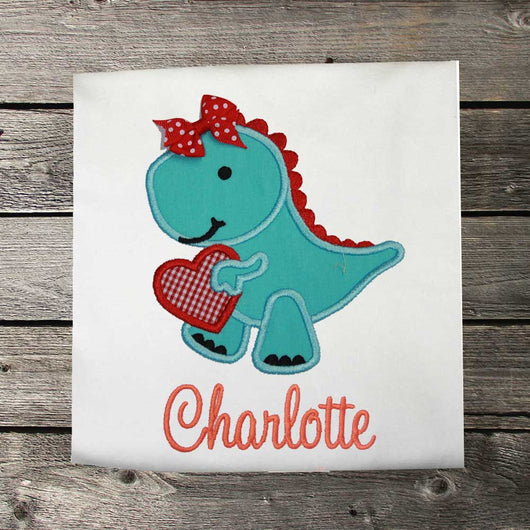 Girls Valentine Shirt,Girls Dinosuar Shirt,Girls T shirt or Bodysuit, Appliqué Embroidered