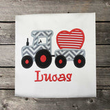 Boys Valentine Shirt,Train Shirt,Boys T shirt or Bodysuit, Appliqué Embroidered