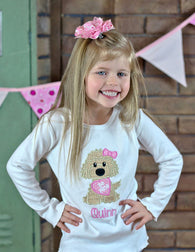 Girls Valentine Shirt,Girls Dog Shirt,Girls T shirt or Bodysuit, Appliqué Embroidered