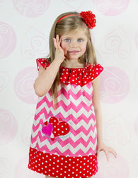 Girls Valentine Heart Dress,Pink Chevron Dress,Appliqué Embroidered