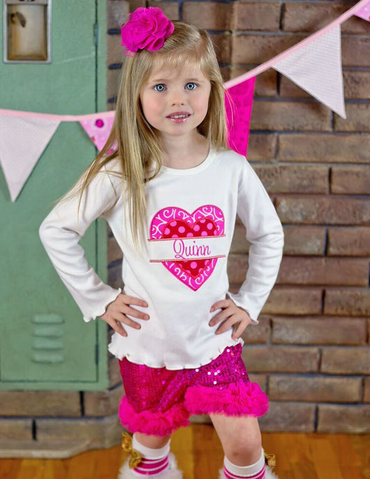 Girls Valentine Shirt,Girls Split Heart Shirt,Girls T shirt or Bodysuit, Appliqué Embroidered