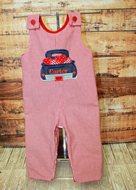 Boys Valentine Jon,Boys Valentine Truck Jon,Boys First Valentine Clothes,Boys First Valentine Outfit,Appliquéd Embroidered Jon Jon Shortall Longall