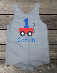 Boys Birthday Wagon Jon,Boys Birthday Jon,First Birthday Jon,Applique Embroidered Jon