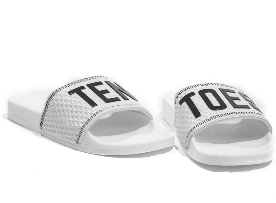 TenToes Snow Black Slides