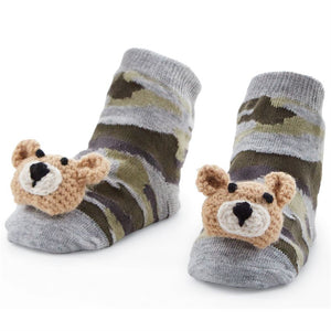 Camo Bear Rattle Toe Socks